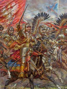 Charge of Winged Hussars Military Art, Military History, Knight Armor, Medieval Fantasy, High Fantasy, Modern Warfare, Large Painting, Illustrations, Fiction