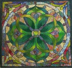 Stunning hooked Stained Glass rug!!  Absolutely gorgeous!!