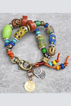 African Trade Bead Mixed Media Gypsy Bohemian Tribal Charm Bracelet $140 Geek Jewelry, Tribal Jewelry, Jewelry Design, Gothic Jewelry, Designer Jewelry, Boho Jewelry, Jewelry Crafts, Jewelry Ideas, Jewelry Necklaces