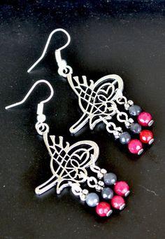 Long Earrings Ruby Earrings Filigree Earrings Labradorite