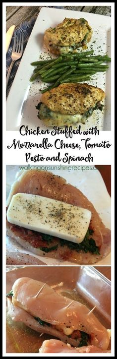 Chicken stuffed with mozzarella cheese, tomato pesto and spinach is a delicious recipe you will be making again and again for your family from Walking on Sunshine Recipes.
