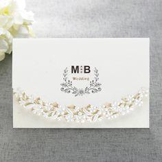 Ivory Laser Cut Flower Wedding Invitation Monogram Invitation- CL 8020 | ItsInvitation