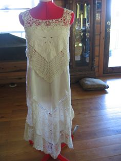 Beautiful dress made from vintage crocheted and cutwork tablecloths. Grandma would be so proud!