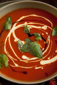 Roast tomato & basil soup. GF modifications: gf soy sauce, gf vegetable/chicken stock, gf cream, gf tomato sauce & whole tomatoes.