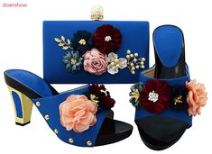 a0cc1c02d072 Capputine African Elegant Blue Shoes And Matching Bags Set For Party Italian  Style High Heels Ladies Shoes And Bag Sets
