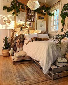 minimalist home 4 Top Tricks: Minimalist Interior Design Plants minimalist bedroom simple rugs.Boho Minimalist Home Decorating Ideas minimalist bedroom decor quartos. Dream Rooms, Dream Bedroom, Bedroom Green, Cream Bedroom Walls, Gypsy Bedroom, Summer Bedroom, Boho Bedroom Decor, Diy Bedroom, Trendy Bedroom