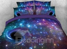 Purple Starry Galaxy Spiral Outer Space Zipper Tencel Cotton Bedding Sets Warm Duvet Cover with Flat Sheet and 2 Pillowcases Spiral Purple Galaxy Printed Bedding Sets/Duvet Covers. Purple Bedding Sets, Cotton Bedding Sets, Best Bedding Sets, Bedding Sets Online, King Bedding Sets, Luxury Bedding Sets, King Comforter, Comforter Sets, Galaxy Bedding