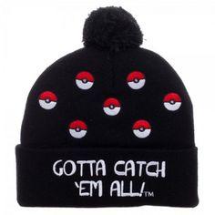 FaeryNiceThings   Adult size Pokemon Go Pokeball Black Cuff Pom Beanie -  Gotta Catch  Em df95c93f0c8