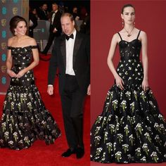 Staysimple (@staysimplesite) on Twitter: 2017 BAFTA Awards, Royal Albert Hall, February 12, 2017-Duke and Duchess of Cambridge; the Duchess wore an Alexander McQueen customized Long Tier Violet Jacquard Gown from the 2016 Resort Collection, altering the dress by adding off the shoulder sleeves instead of a corset top with straps