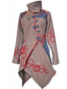 """Manteau """"julie LB"""" lainage à chevrons beige/bleu/ fils plaqués rouge"""
