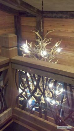 Railing and Antler Chandelier