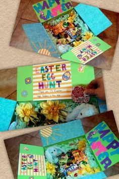 Easter cared package with a little twist. Tissue paper has been frayed to look like grass and paper Easter eggs with personal messaged are hidden in the grass. #Easter, #care package, #military