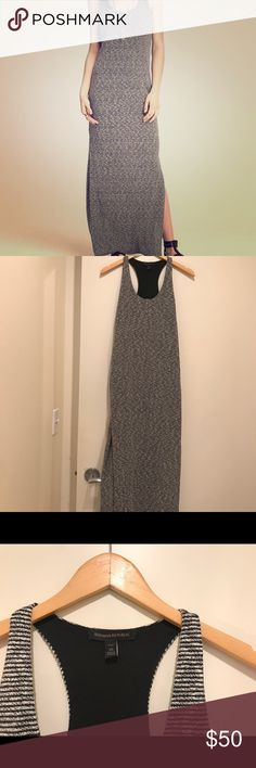 Banana republic petite small maxi woven dress Petite small - Banana Republic Maxi Dress with racerback and black and white stripes. Dress is fully lined and has side slits on both sides. Ankle length dress. Banana Republic Dresses Maxi