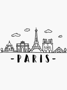 Paris Skyline Travel Sticker by DuxDesign Easy doodles drawings Mini drawings Easy doodle art