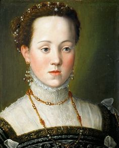 ARCIMBOLDO, Giuseppe Archduchess Anna, Daughter of Emperor Maximilian II c. 1563 Oil on wood, 42 x 34 cm Kunsthistorisches Museum, Vienna Renaissance Portraits, Renaissance Paintings, Renaissance Fashion, Italian Renaissance, Renaissance Hair, Renaissance Clothing, Giuseppe Arcimboldo, Hans Von Aachen, 16th Century Fashion