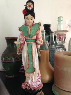 Vintage Japanese Doll with Silk Face and Clothing by DuckCedar