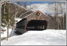Albany Covered Bridge in Snow, White Mountains National Forest, New Hampshire