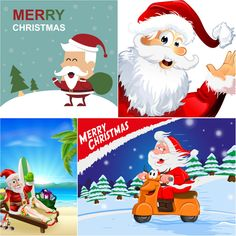 Santa Claus on a motorcycle in the form of a deer backgrounds