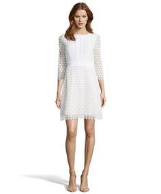 Diane Von Furstenberg Ivory Eyelet Crochet Cotton 'nolly' Sheath Dress