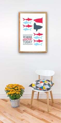Shark nursery decor A3 plus sized Poster - Sharks Inspirational quote poster -Lets go on an adventure - Nursery room SPP020