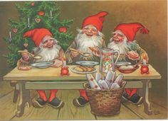 how happy they look after a hard day making presents. Scandinavian Gnomes, Scandinavian Christmas, Vintage Christmas Cards, Christmas Greetings, Baumgarten, Norwegian Christmas, Elves And Fairies, Mythological Creatures, Christmas Gnome