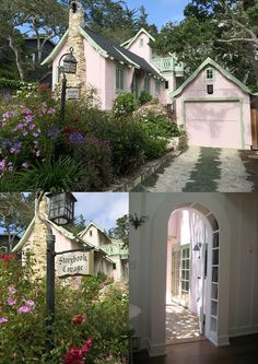 """The """"Storybook Cottage"""" built by Hugh Comstock (Carmel, California). Comstock was inspired by the Fairytale Illustrations of Arthur Rackham~Image via VRBO"""