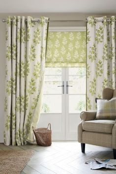 Green Country Sprig Print Eyelet Curtains from Next UK - neutral with botanical leaf print
