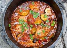 Dutch Oven Chicken Provencal Stew adapted from Big Girls, Small Kitchen For one 12-inch Dutch oven, to feed 6-8