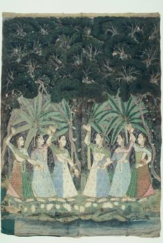 Pichhvai depicting a dense forest scene, gopi's looking for Krishna Rajasthani Painting, Pichwai Paintings, Krishna Radha, Indian Textiles, Hindu Art, Indian Art, Art And Architecture, Color Inspiration, Scene