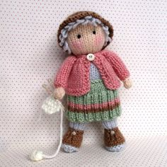 Granny Pearl loves knitting Knitting pattern by Dollytime GRANNY PEARL carries her bag wherever she goes as it always contains her latest knitting project. If she didn't have so . Love Knitting Patterns, Knitted Doll Patterns, Knitted Dolls, Circular Knitting Needles, Double Knitting, Knitting Yarn, Baby Knitting, Pearl Love, Bunny Toys