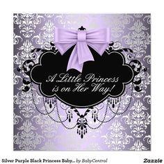 """Ducha negra púrpura de plata de la princesa niña invitación 5.25"""" x 5.25"""""""