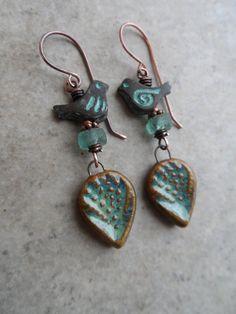 Love Birds ... Artisan-Made Ceramic Leaf Charms by juliethelen