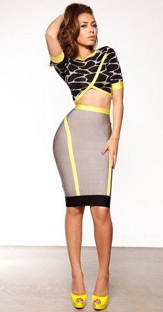 093abf541f09 Clothing   Bandage Dresses   Khaya Black Grey and Neon Green Bandage Two  Piece Set. Best Fashion DesignersHerve LegerHot ...
