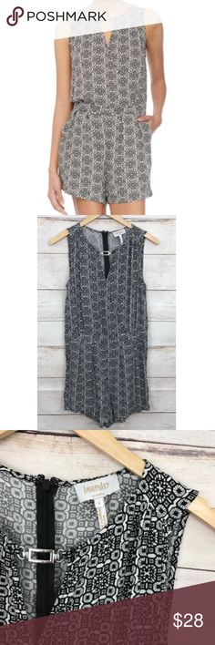 """Laundry Shelli Segal Romper Black White Sleeveless Details: Black & white printed sleeveless romper. Keyhole neck with silver detail. Back zipper. Excellent, preowned condition! Measurements: Length (back of neck to bottom of shorts): 30.25"""", Bust: 35"""" Laundry By Shelli Segal Pants Jumpsuits & Rompers"""
