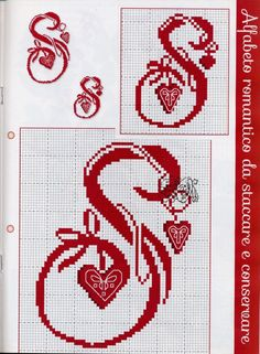 Gallery.ru / Фото #33 - Cose per Creare №64 - Ricama IL Tuo Natale - NINULYKA Cross Stitch Letters, Cross Stitch Bookmarks, Counted Cross Stitch Patterns, Cross Stitch Embroidery, Monogram Letters, Hobbies And Crafts, Crochet, Lettering, Crossstitch