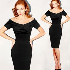 Sexy Black Pin -Up Bodycon Pencil Dress
