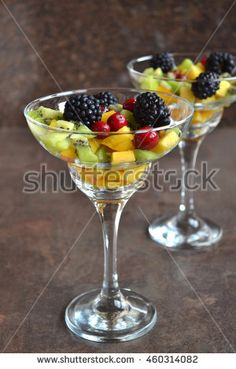 Fresh Fruit Salad  with Honey and Rum. Party In A Glass.