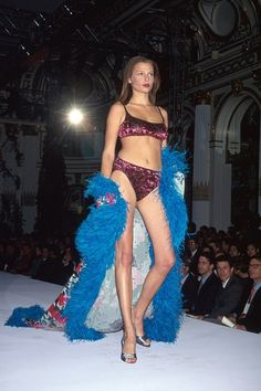 Bridget Hall on the catwalk at the Victoria's Secret show in 1998.
