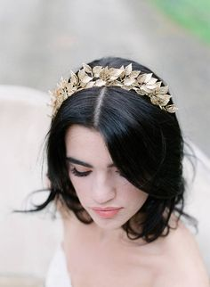 Tiara Bridal Headpiece, SIGRID Bridal Gold Headpiece, Leaf Hair Clip Leaves Wedding Comb, Silver Bridal Headpiece As Seen in Southern Bride