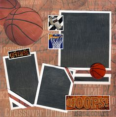 basketball scrapbook albums | Basketball 2 Premade Pages Scrapbooking 12x12 Cherry | eBay