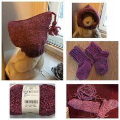 Hattu, lapaset ja sukat. Hattu kudottu kaksinkertaisesta langasta ja vuori vielä erikseen vaaleanpunaisesta merinovilla-langsta. Pienelle tytölle pakkaskeleihin 1/2018.