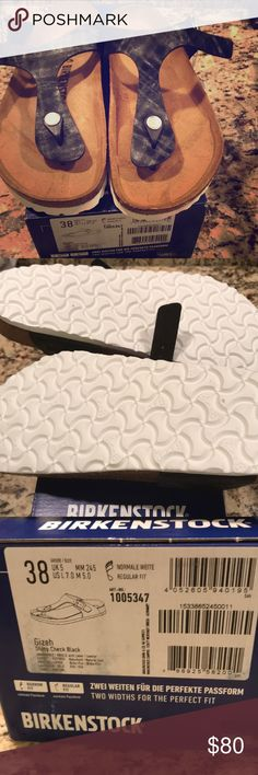 BNWT Birkenstock Size Uk 38   Us 7 Gizeh Shiny Check Black Smoke Free And  Cat