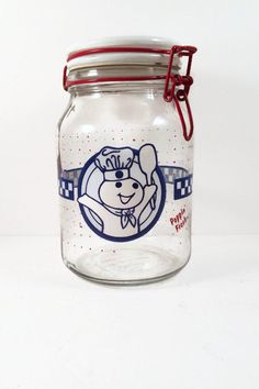 Simply awesome Vintage Pilsbury Glass Canister- Pilsbury Doughboy Jar. Find it in my shop ✨ https://www.etsy.com/listing/472791239/vintage-pilsbury-glass-canister-pilsbury?utm_campaign=crowdfire&utm_content=crowdfire&utm_medium=social&utm_source=pinterest