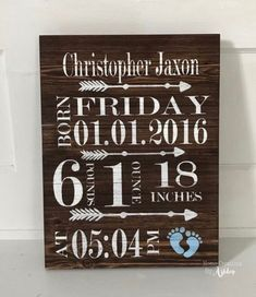 Birth Info Signs / Newborn Signs / Baby Sign / Keepsake Sign / Wood Sign / Cricut : Baby and Children Baby Turban, Wine Racks, Handgemachtes Baby, Baby Birth, Diy Baby, Baby Sleep, Baby Boys, Birth Announcement Sign, Birth Announcements