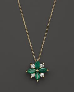 """Bloomingdale's Emerald and Diamond Flower Pendant Necklace in 14K Yellow Gold, 18"""" on shopstyle.com"""