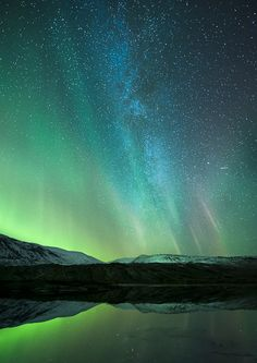 Space, by Tommy Eliassen, via Great effect: The Milky Way framed by the Aurora Borealis. Aurora Borealis, Northen Lights, Space Photography, Photos Voyages, Tromso, To Infinity And Beyond, Beautiful Sky, Nocturne, Milky Way