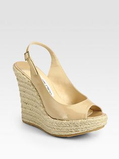 Polar Patent Leather Slingback Espadrille Sandals by Jimmy Choo