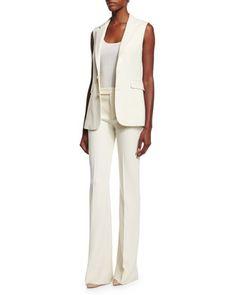 Button-Front Vest, Scoop-Neck Cashmere Tank & Mid-Rise Panama Pants by Ralph Lauren Black Label at Neiman Marcus.