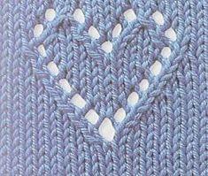 Ravelry: Coração de trico (Knit Heart Motif) pattern by Sandra Coatti Knitting Stiches, Knitting Charts, Lace Knitting, Knitting Patterns Free, Knit Patterns, Crochet Stitches, Free Pattern, Intarsia Knitting, Baby Patterns