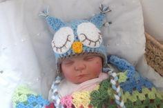 slapende baby boy uil muts 0-3m van Bcollins1974 via DaWanda